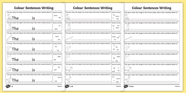 Colour Sentences Writing Worksheet   Worksheet Pack, Worksheet