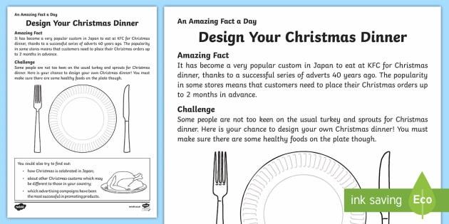 Design Your Christmas Dinner Worksheet   Worksheet