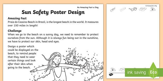 Sun Safety Poster Design Worksheet   Worksheet