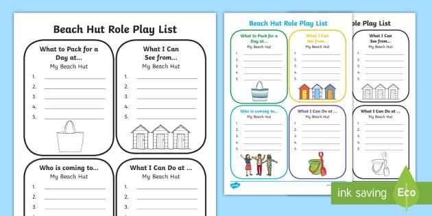 Beach Hut Role Play List Writing Worksheet   Worksheets