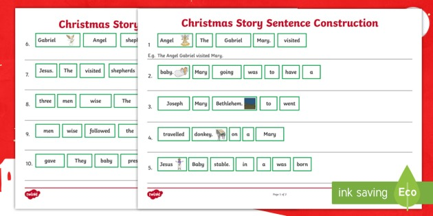 Christmas Story Sentence Construction Worksheet   Worksheet