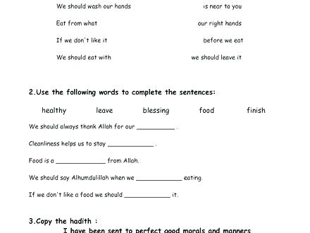 Table Etiquette Worksheets Teaching Children Manners Free