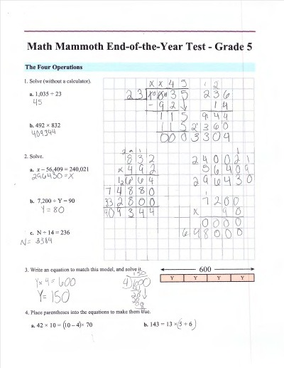 Math Mammoth Placement Tests For Grades 1