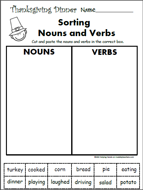 Free 1st Grade Worksheets For November Language Arts