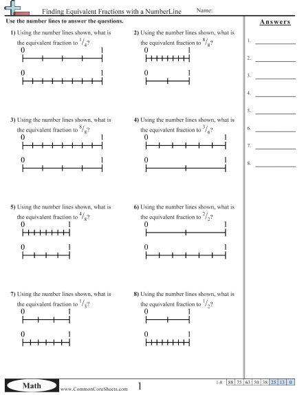 Finding Equivalent Fractions With A Numberline Worksheet