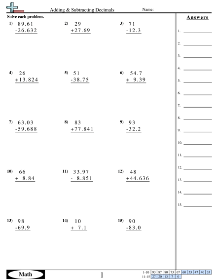 Decimal Worksheets