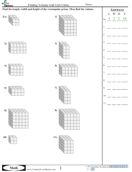 Volume Worksheets