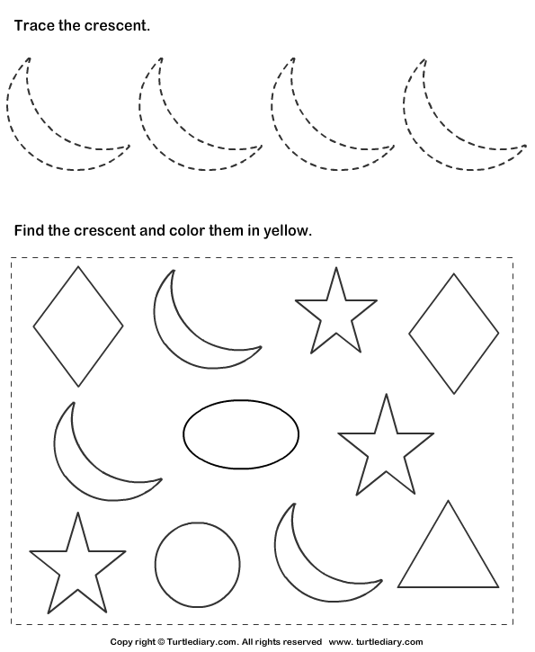 Trace Crescent And Color Them Worksheet