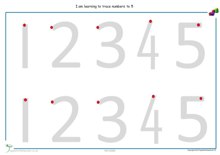 Trace Numerals To 5 Worksheet