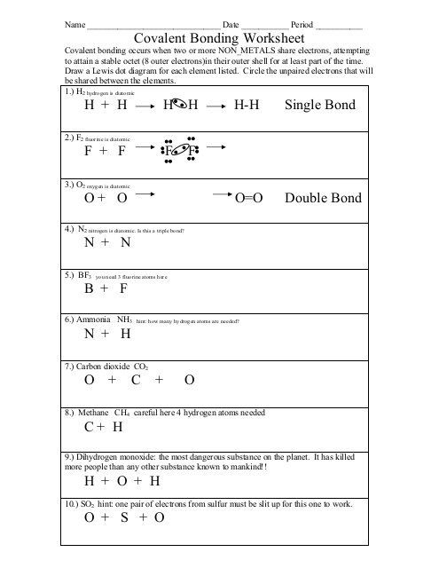 Types Of Bonds And Covalent Bonding Worksheet