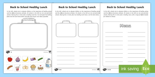 Healthy Lunch Box Differentiated Worksheet   Worksheets