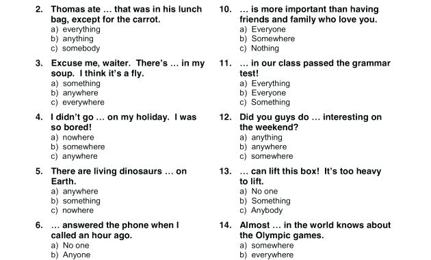 Unique Indefinite Pronouns Worksheet With Answers Images