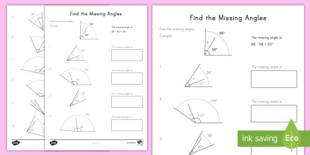 Find The Missing Angles Worksheet   Worksheet