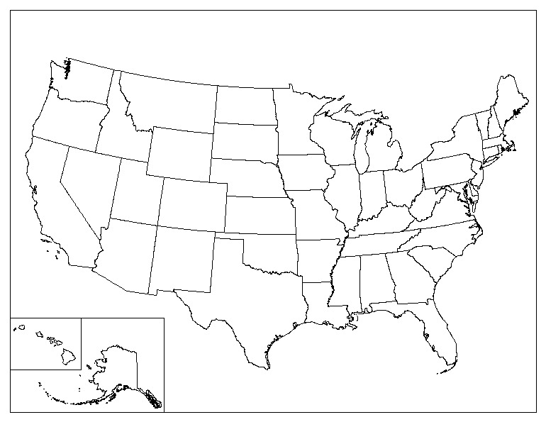 Us 50 States Map Quiz Map The United States No Color Artmarketing