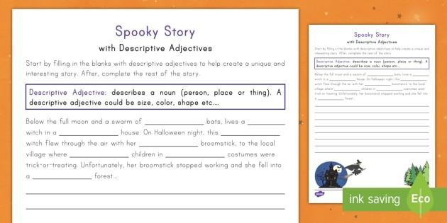 Spooky Story Opener With Descriptive Adjectives Worksheet   Worksheet
