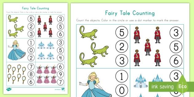 Fairy Tale Counting Worksheet   Worksheet