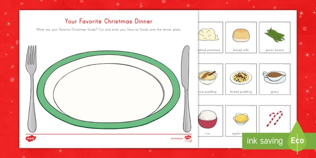 Your Favorite Christmas Dinner Cut And Stick Worksheet