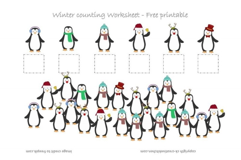 Winter Penguin Counting Worksheet