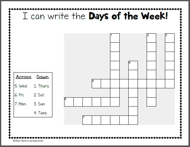 Days Of The Week Kindergarten Worksheets   Cmediadrivers