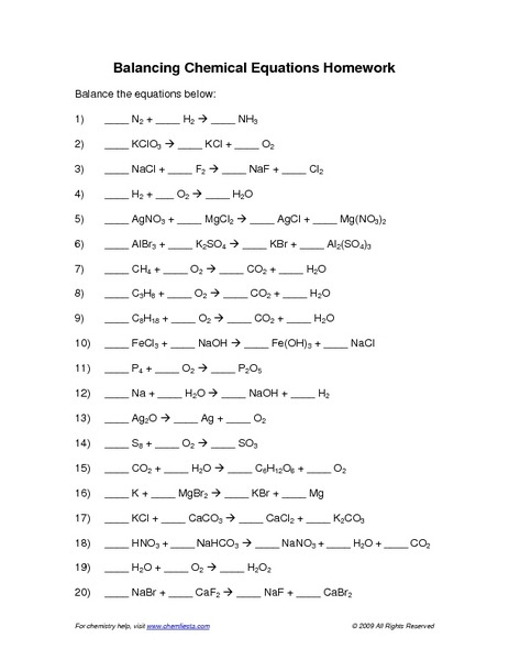 Balancing Chemical Equations Worksheet Answer Key  Equations
