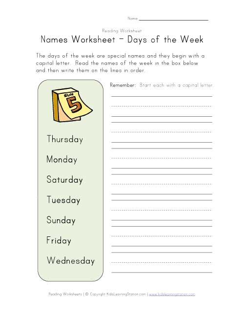 Names Days Of Printables Days Of Week Worksheets Kindergarten Days