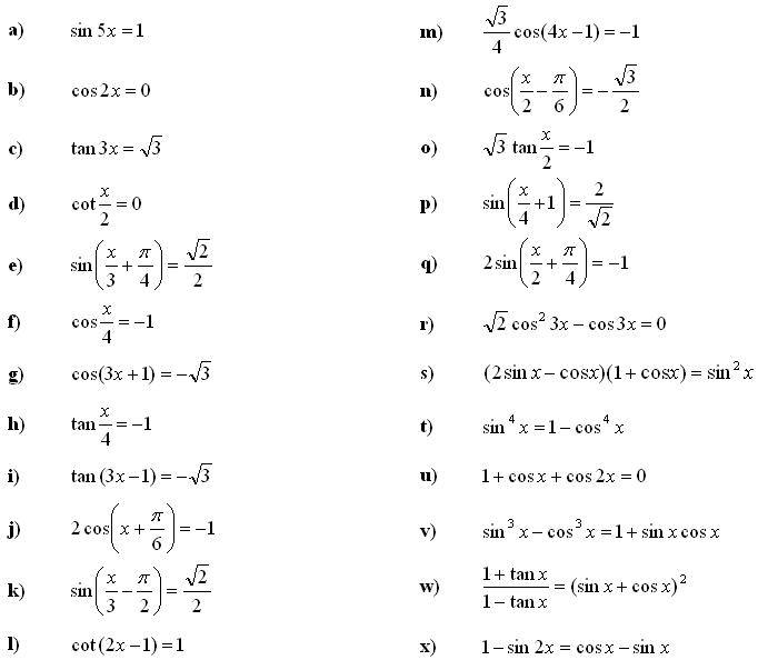 Math Exercises & Math Problems  Trigonometric Equations And