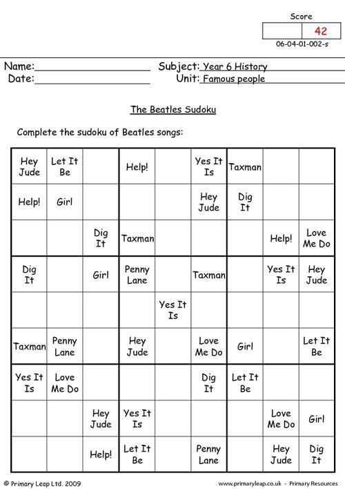 The Beatles Sudoku