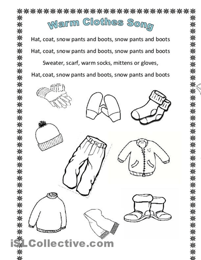 Winter Clothes Song (en Hommage To Arianey's Version) Worksheet