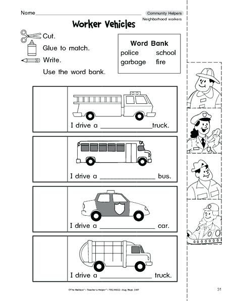 And Worksheets For And Kindergarten Community Helpers Worksheet