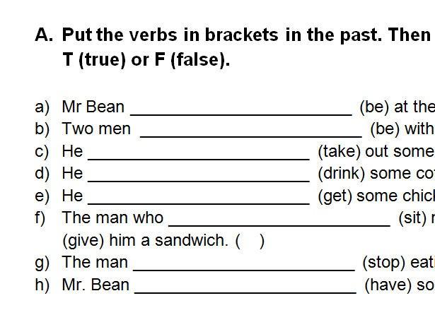 Video Worksheet  Mr Bean's Sandwich