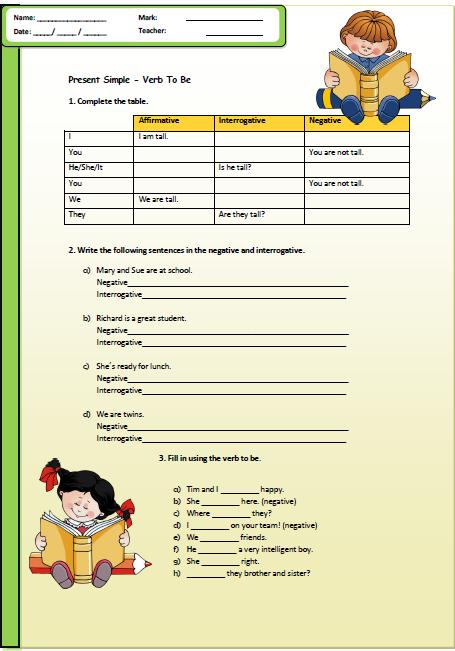 Present Simple  Verb To Be Elementary Worksheet