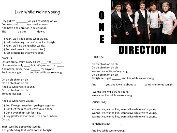 Song Worksheet  Live While We're Young By One Direction