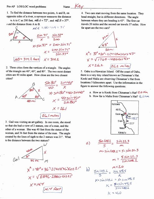 Trigonometry Word Problems Worksheets With Answers