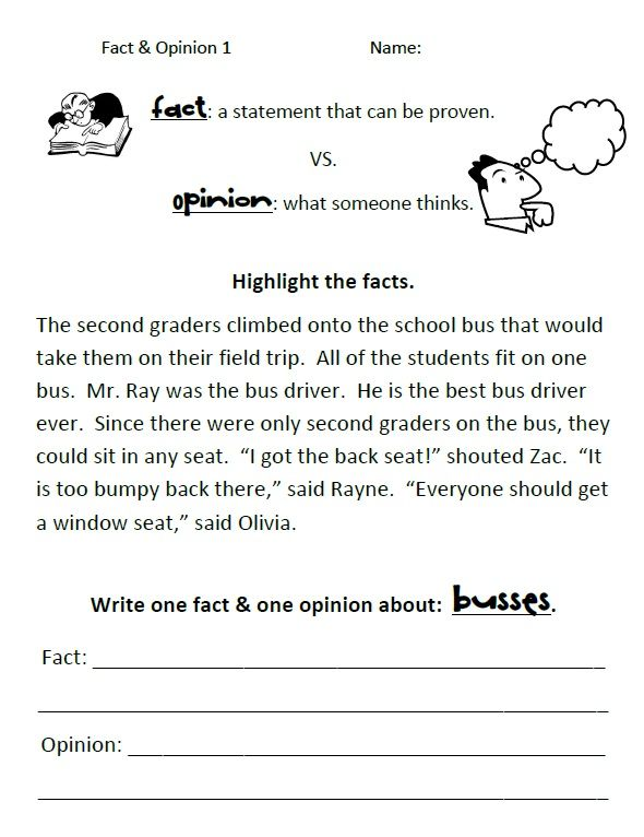 Simple Fact Vs  Opinion Worksheets
