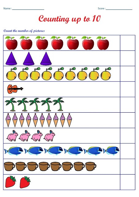 Kindergarten Worksheets  Counting Worksheets
