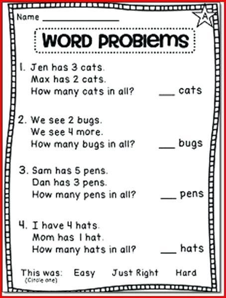 1st Grade Math Worksheets Grade Math Worksheets Word Problem 1st