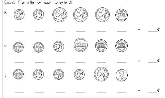 1st Grade Money Worksheets Math First Grade Math Money Worksheets