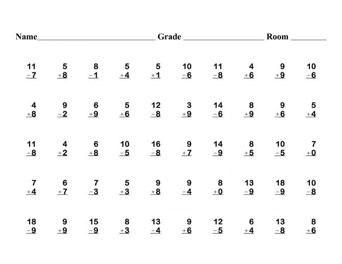 1st Grade Printable Math Worksheets