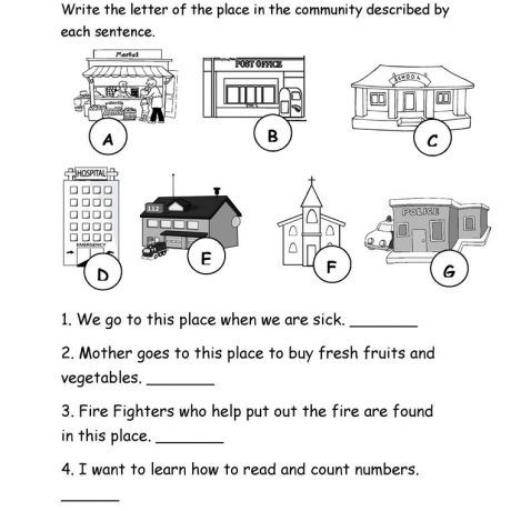 37 Free Esl Community Worksheets Map For Kindergarten Places In