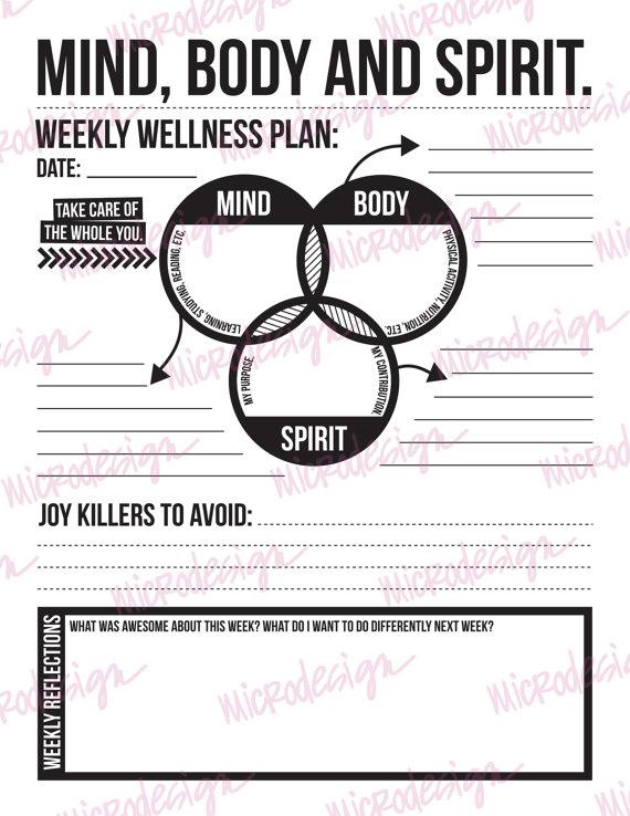 Mind Body Spirit  Weekly Wellness Plan