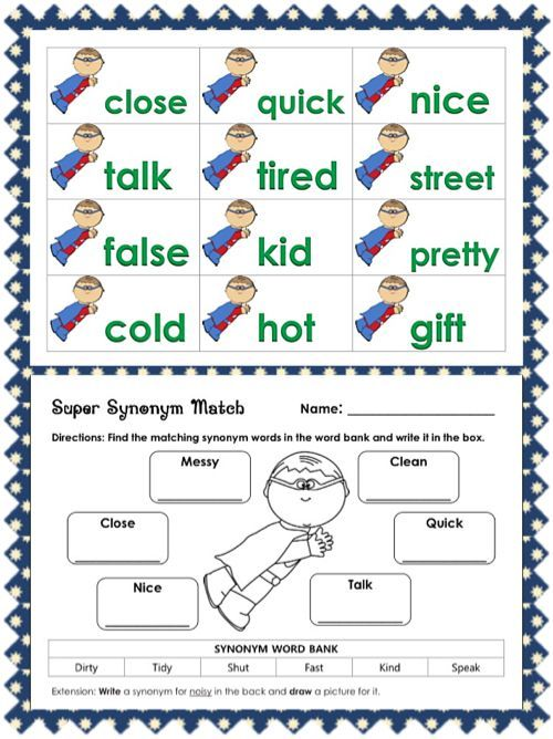 Synonym Worksheets For 1st Grade