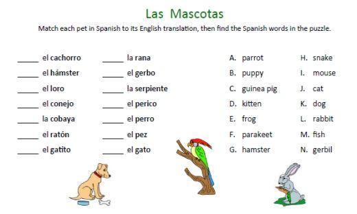 Free Spanish Animals Worksheets! More