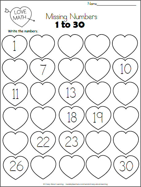 Valentine's Day Missing Numbers To 30