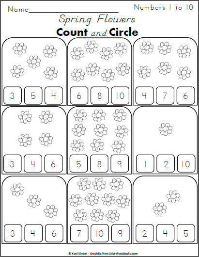 Count The Flowers And Circle The Numbers 1 To 10