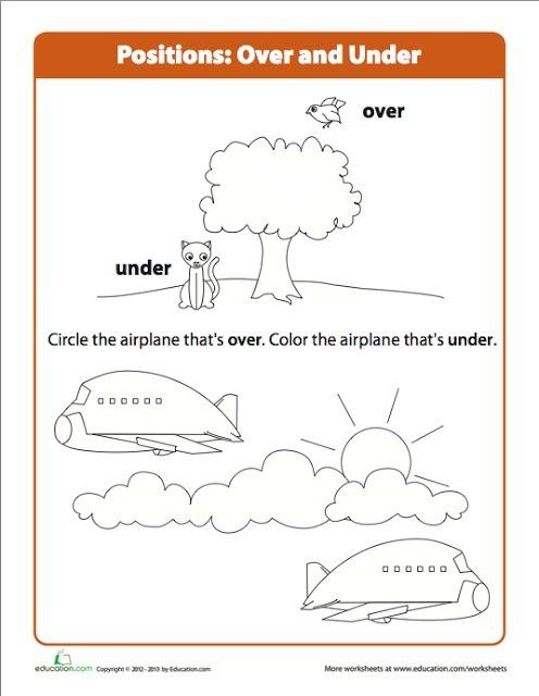 Preschool Over Under Airplane Worksheet