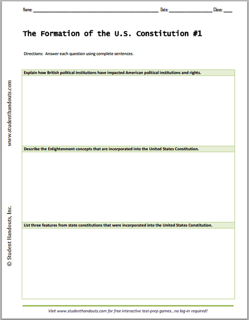 Formation Of The U S  Constitution Essay Questions Worksheets