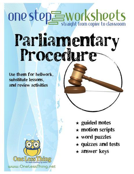 Parliamentary Procedure, One Step Worksheet Downloads