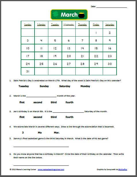 March Calendar Worksheet