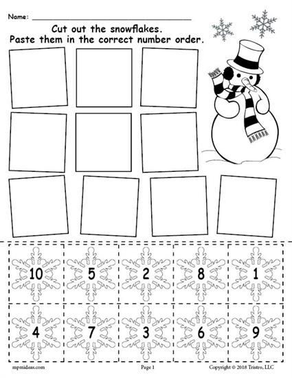 Free Printable Snowflake Number Ordering Worksheet Numbers 1