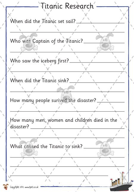 Titanic Activity Worksheets